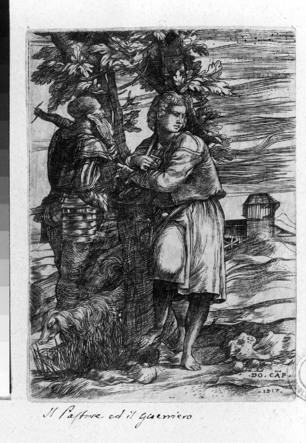 scena campestre con figure (stampa smarginata) di Campagnola Domenico (sec. XVI)