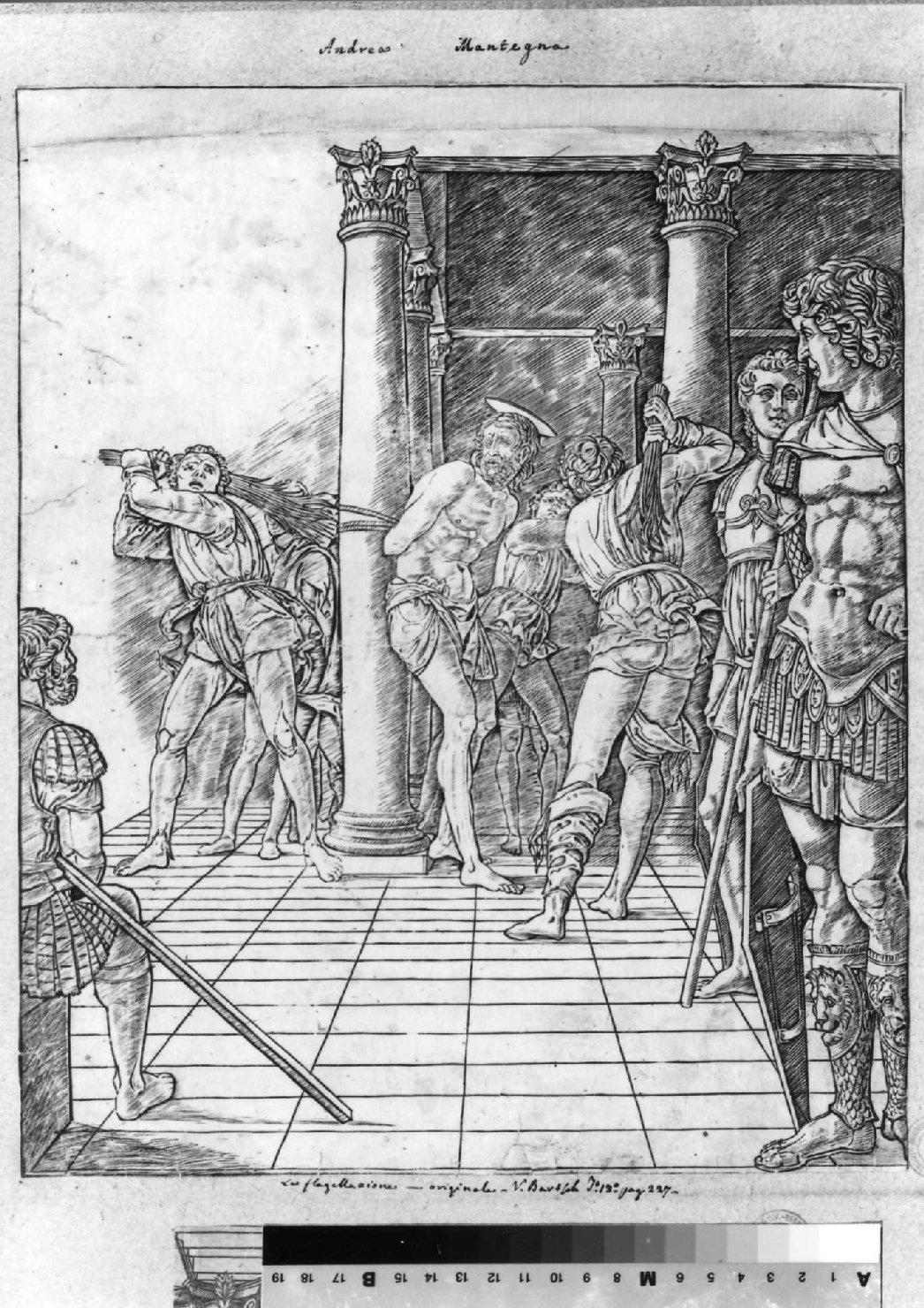 La flagellazione di Gesù con pavimento, flagellazione di Cristo (stampa smarginata) di Mantegna Andrea (sec. XV)
