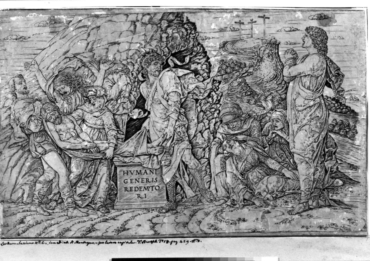 deposizione di Cristo nel sepolcro (stampa smarginata) di Mantegna Andrea (sec. XV)