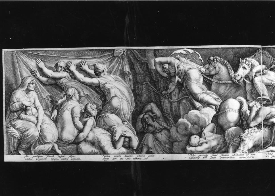 storie di Niobe (stampa smarginata, stampa composita) di Polidoro da Caravaggio, Goltzius Hendrick, Saenredam Jan Pietersz (sec. XVI)