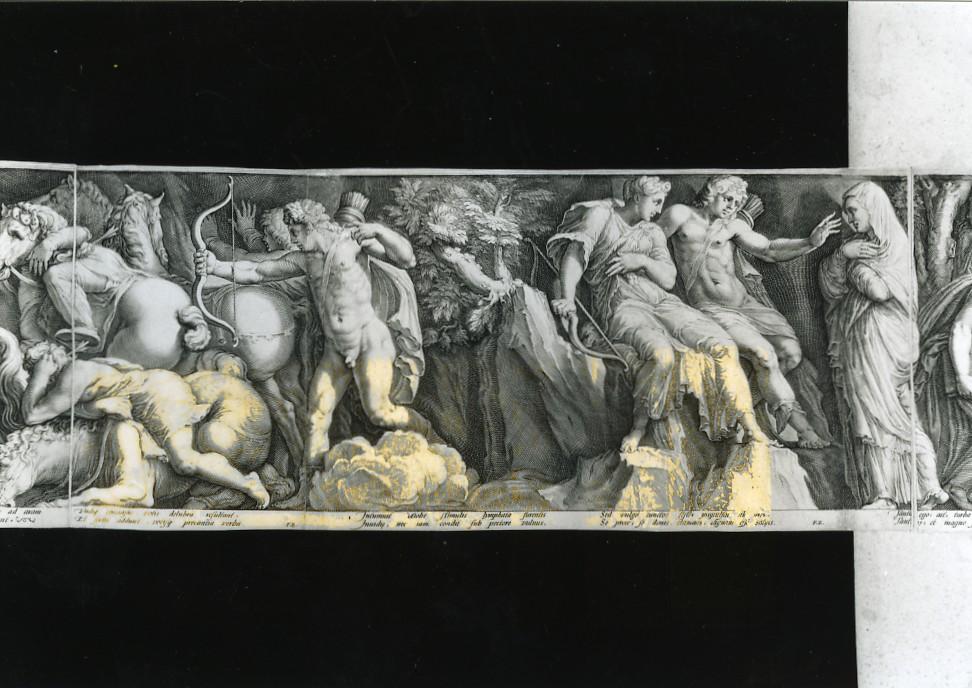 Niobe piange i suoi figli (stampa smarginata, stampa composita) di Polidoro da Caravaggio, Goltzius Hendrick, Saenredam Jan Pietersz (sec. XVI)