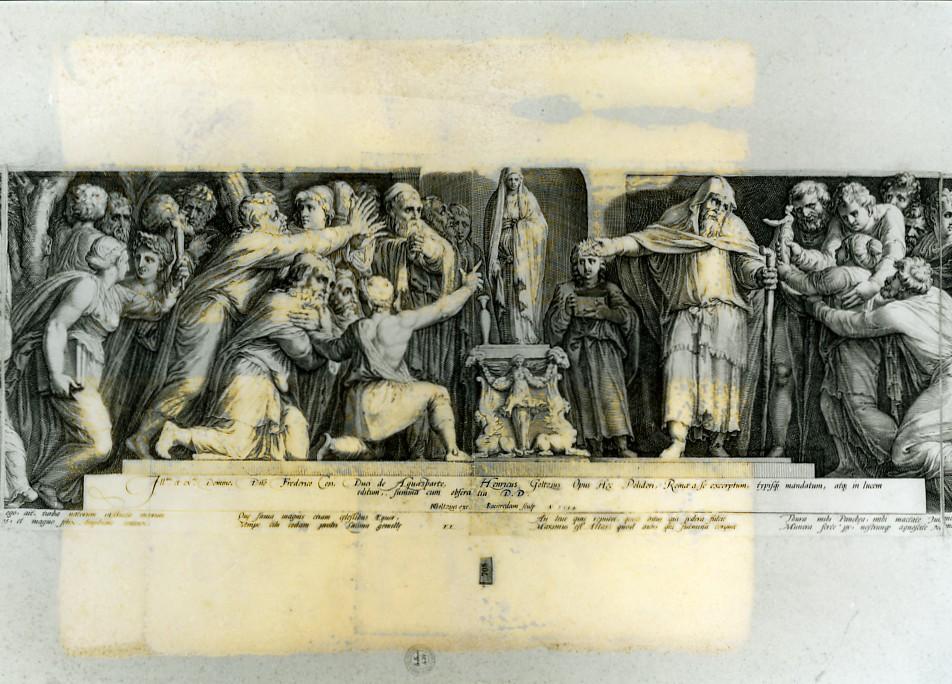 adorazione di Niobe (stampa smarginata, stampa composita) di Polidoro da Caravaggio, Goltzius Hendrick, Saenredam Jan Pietersz (sec. XVI)