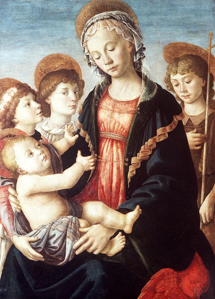Madonna con Bambino e San Giovannino (dipinto) di Filipepi Alessandro detto Botticelli (sec. XV)