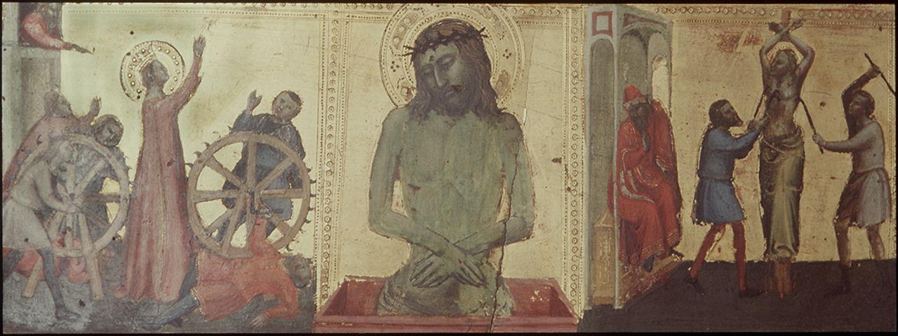 martirio di Santa Caterina d'Alessandria, Cristo in pietà, martirio di Sant'Agata (predella) di Maestro della Misericordia dell'Accademia (sec. XIV)