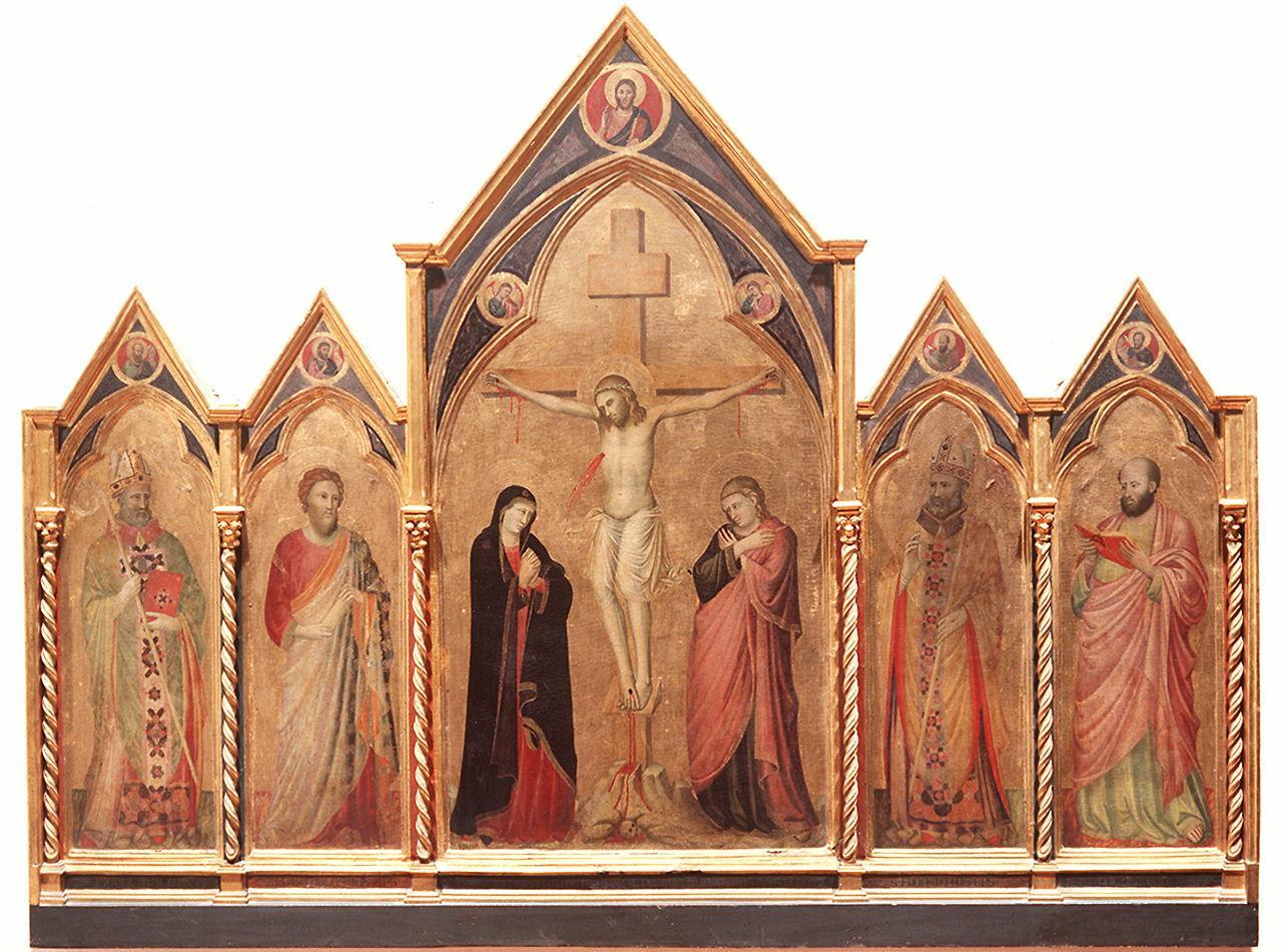 Cristo crocifisso tra la Madonna e San Giovanni Evangelista (scomparto di polittico) di Pacino di Buonaguida (sec. XIV)