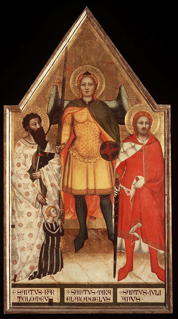 San Michele Arcangelo tra San Bartolomeo e San Giuliano l'Ospitaliere con donatrice (dipinto) di Matteo di Pacino (sec. XIV)