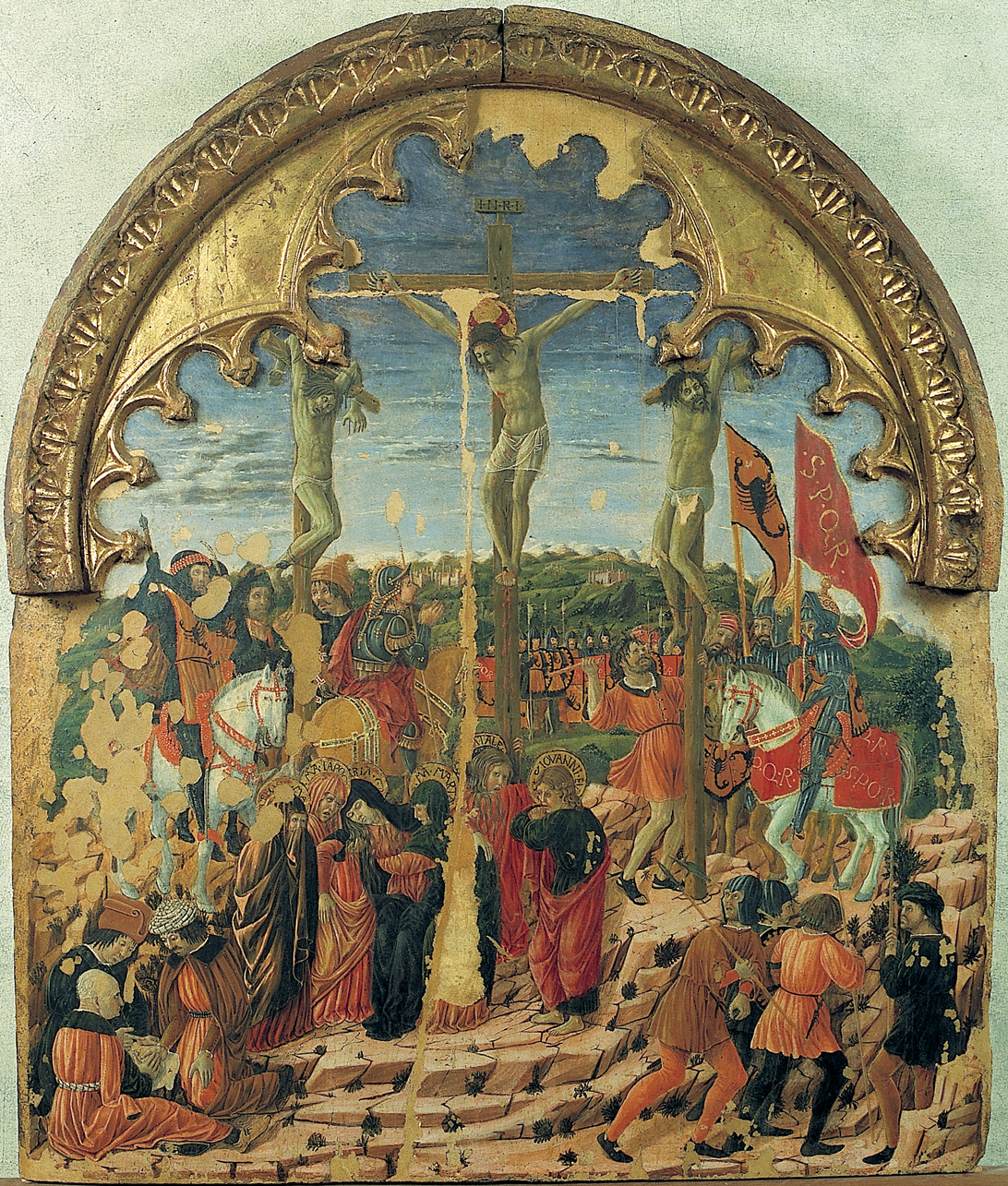 Crocifissione, Crocifissione di Cristo (dipinto, opera isolata) di Boccati Giovanni (sec. XV, terzo quarto)