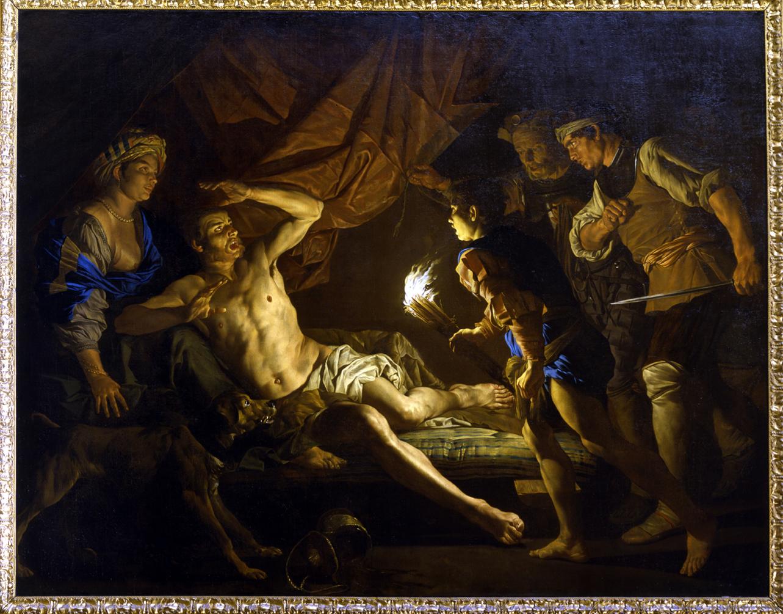 Sansone catturato dai filistei (dipinto, opera isolata) di Stom Matthias - ambito olandese (sec. XVII, metà)