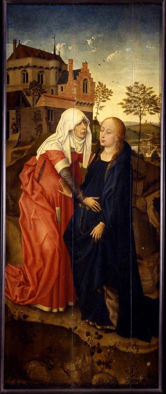 Visitazione (dipinto, opera isolata) di van der Weyden Rogier - ambito fiammingo (sec. XV, secondo quarto)