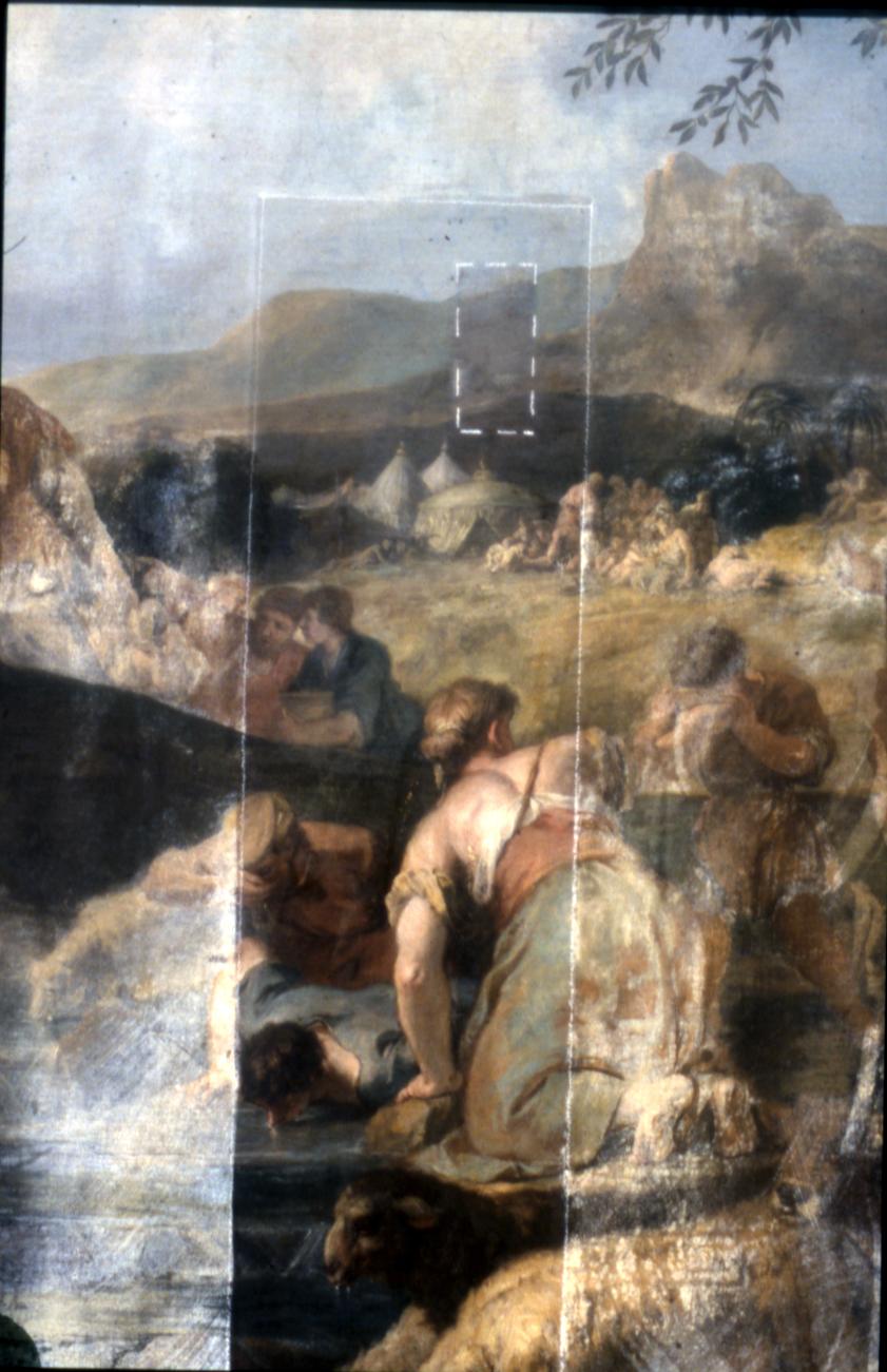 Mosè fa scaturire l'acqua dalla roccia (dipinto, opera isolata) di Ricci Sebastiano, Ricci Marco (attribuito) (secondo quarto sec. XVIII)