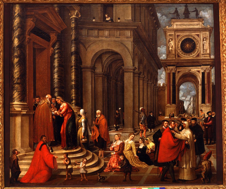 presentazione di Gesù al tempio (dipinto, opera isolata) di Badile Antonio (attribuito) (sec. XVI, metà)