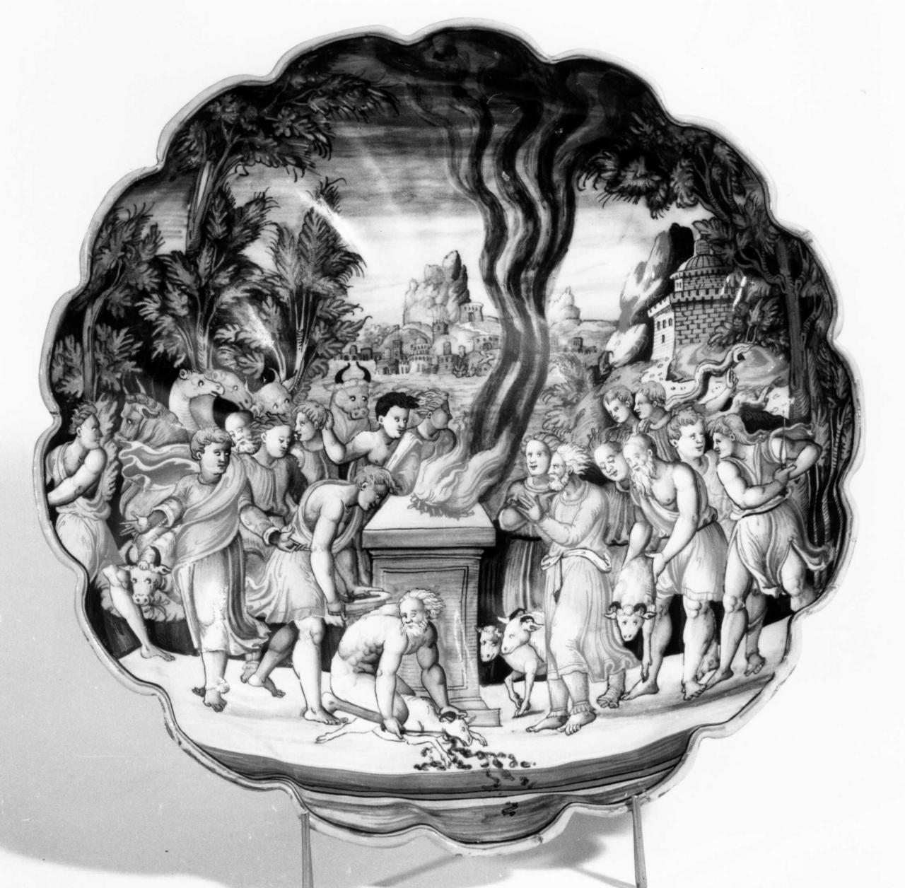 """sacrificio di Noè (coppa - umbonata e baccellata (""""crespina"""")) - manifattura urbinate (meta' sec. XVI)"""