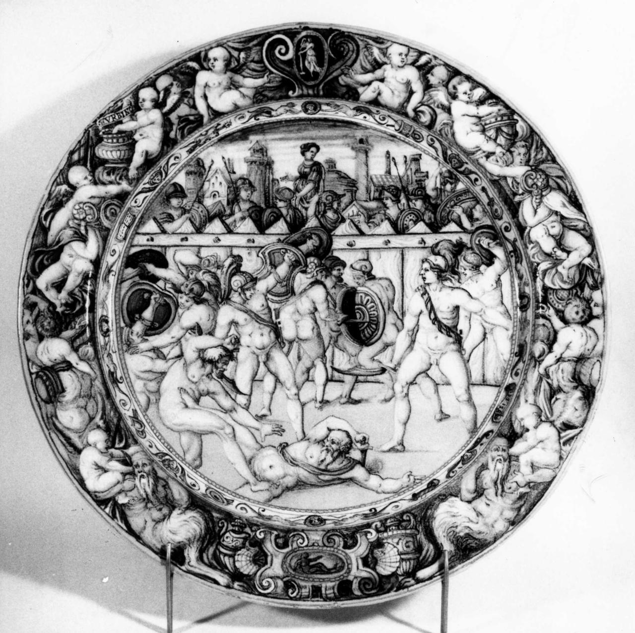 combattimento tra gladiatori (piatto) di Fontana Orazio (bottega) - manifattura urbinate (metà sec. XVI)