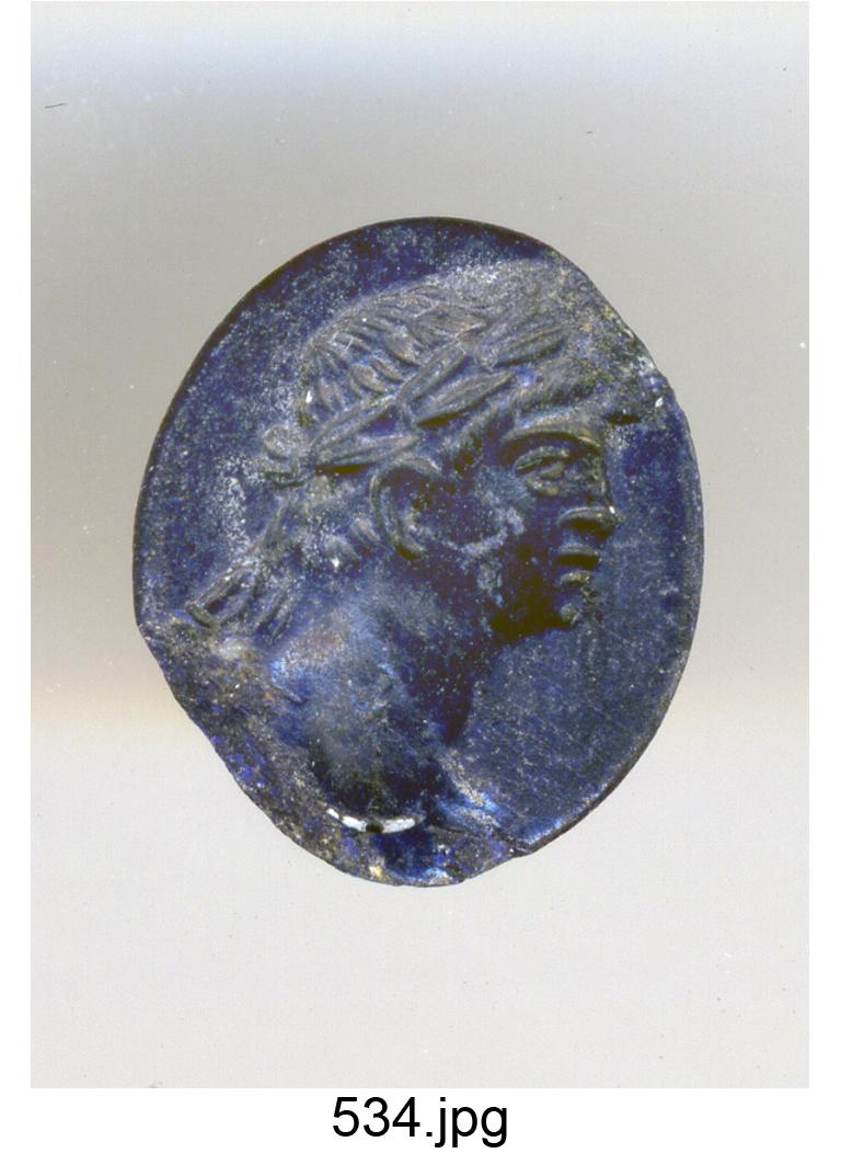 testa maschile laureata a destra (Domiziano) (gemma) - produzione romana (sec. I)