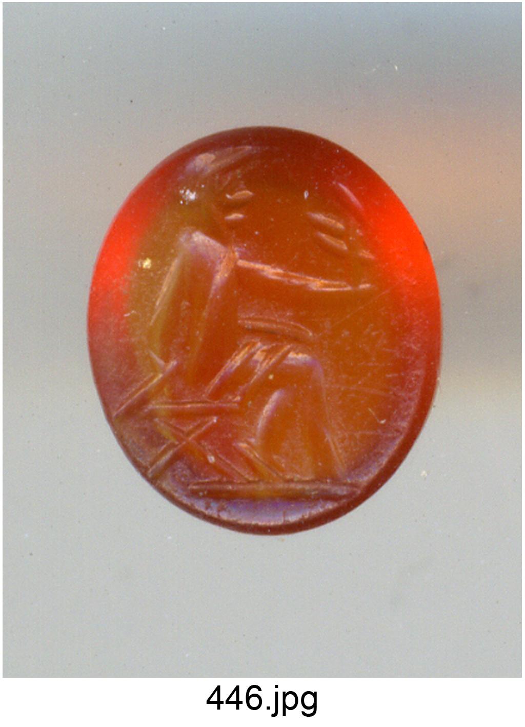 figura seduta con Vittoria (gemma) - produzione romana (secc. III/ IV)
