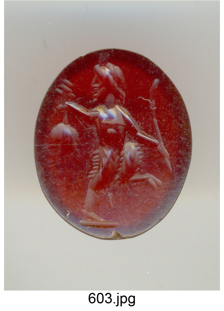 Pan o Panisco danzante con pedum e grappolo d'uva (gemma) - produzione romana (secc. I/ II)