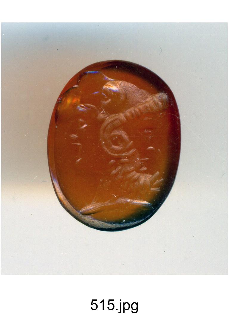 tripla testa con maschera e Giove Ammone contrapposti, sopra uno scalpo di elefante (?) (gemma) - produzione romana (secc. I/ II)