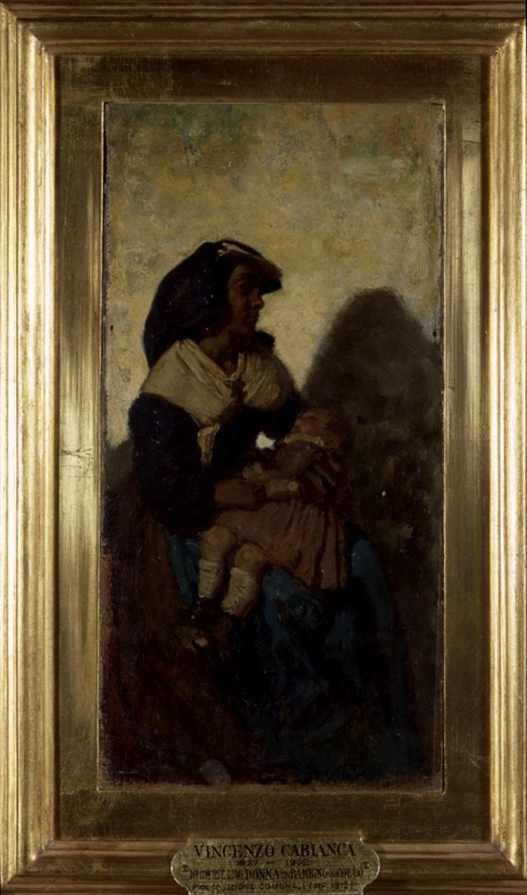 Donna con bambino, ritratto di ciociara con bambino (dipinto) di Cabianca Vincenzo (sec. XIX)