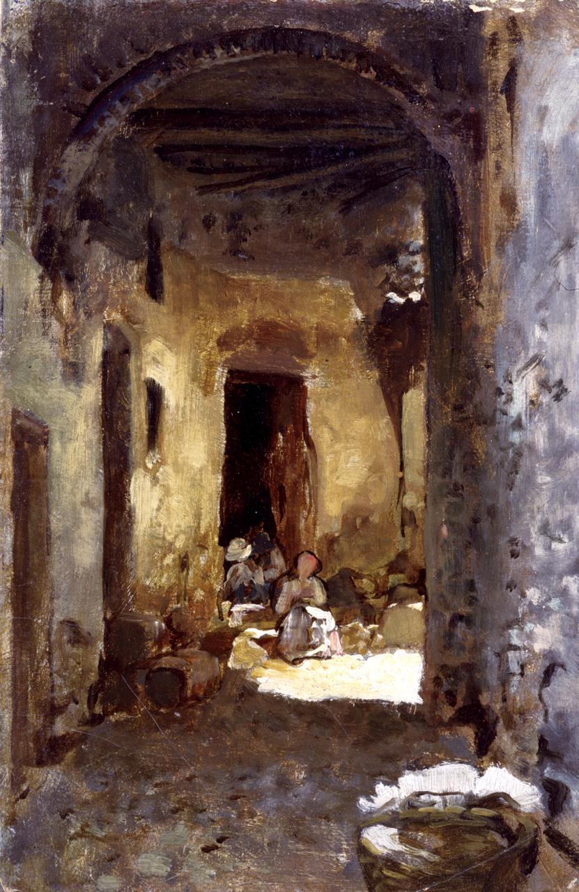 Androne a Terracina, edificio rurale con figure (dipinto) di Cabianca Vincenzo (sec. XIX)