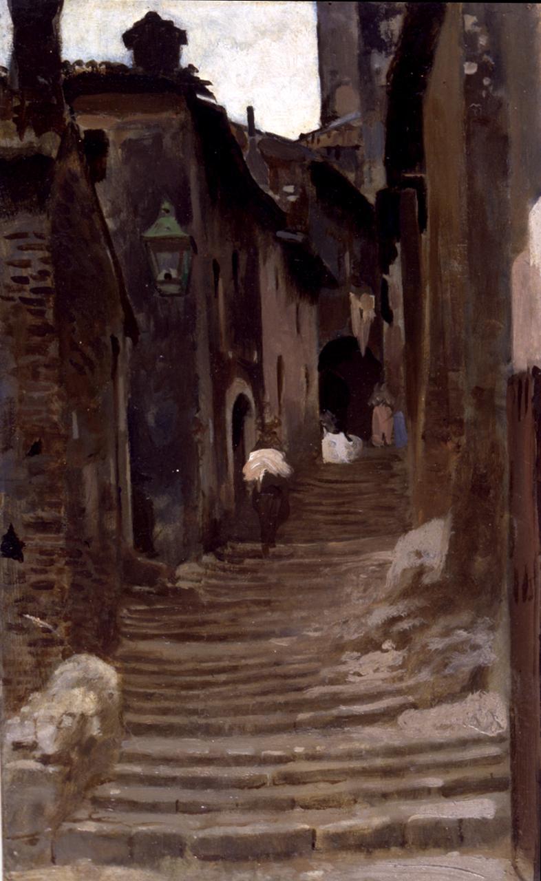 Strada a Palestrina, veduta di strada (dipinto) di Cabianca Vincenzo (sec. XIX)