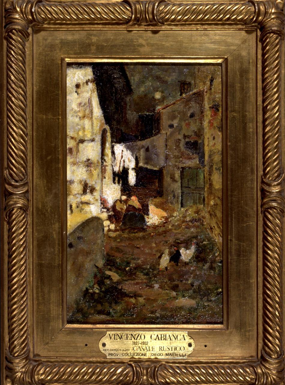 Cortile rustico, veduta di cortile (dipinto) di Cabianca Vincenzo (sec. XIX)