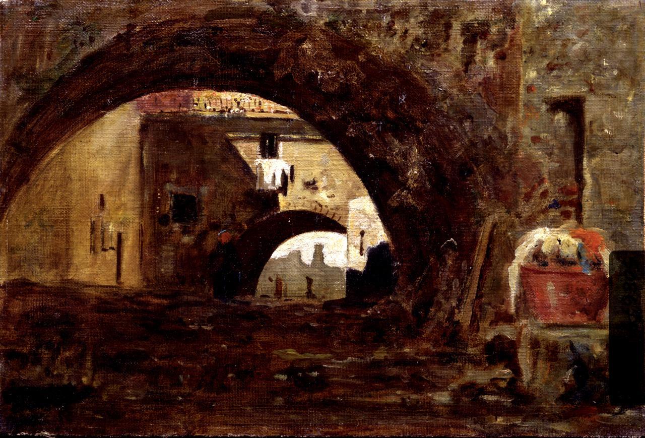 Ombre e luci, veduta di strada (dipinto) di Cabianca Vincenzo (sec. XIX)
