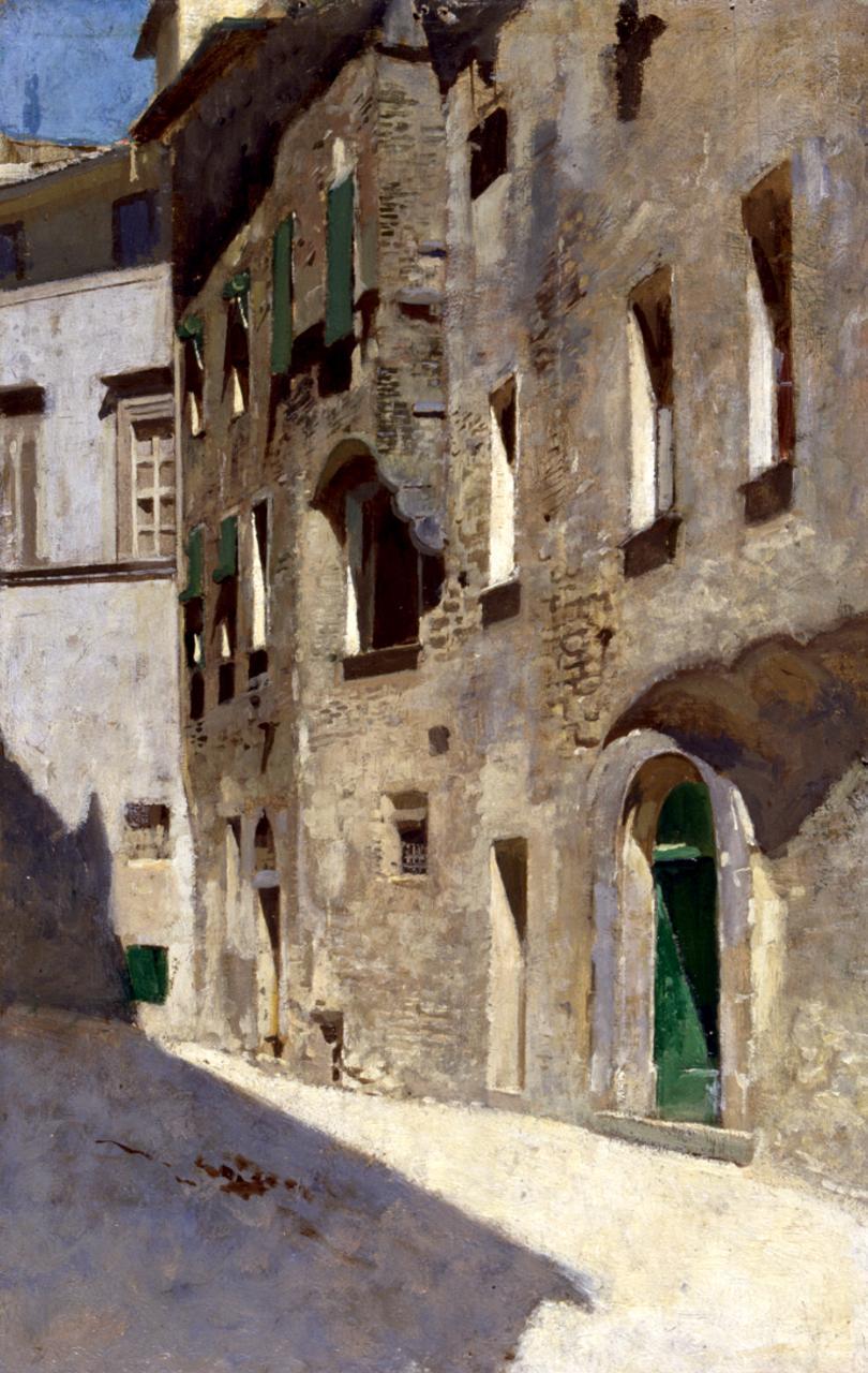 Effetto di sole, veduta di strada (dipinto) di Cabianca Vincenzo (sec. XIX)