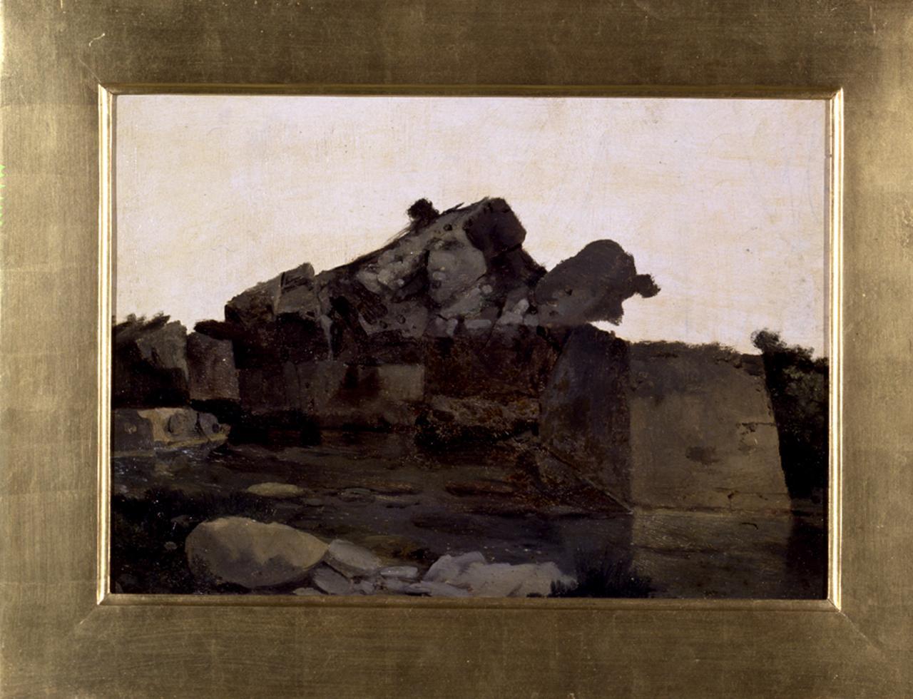 Scogli a Castiglioncello, marina (dipinto) di Abbati Giuseppe (sec. XIX)