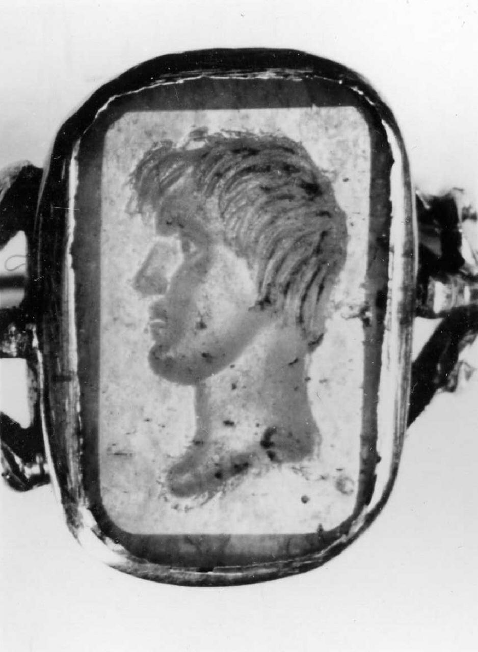 testa d'uomo di profilo (decorazione a intaglio) - bottega italiana (prima metà sec. XVIII)