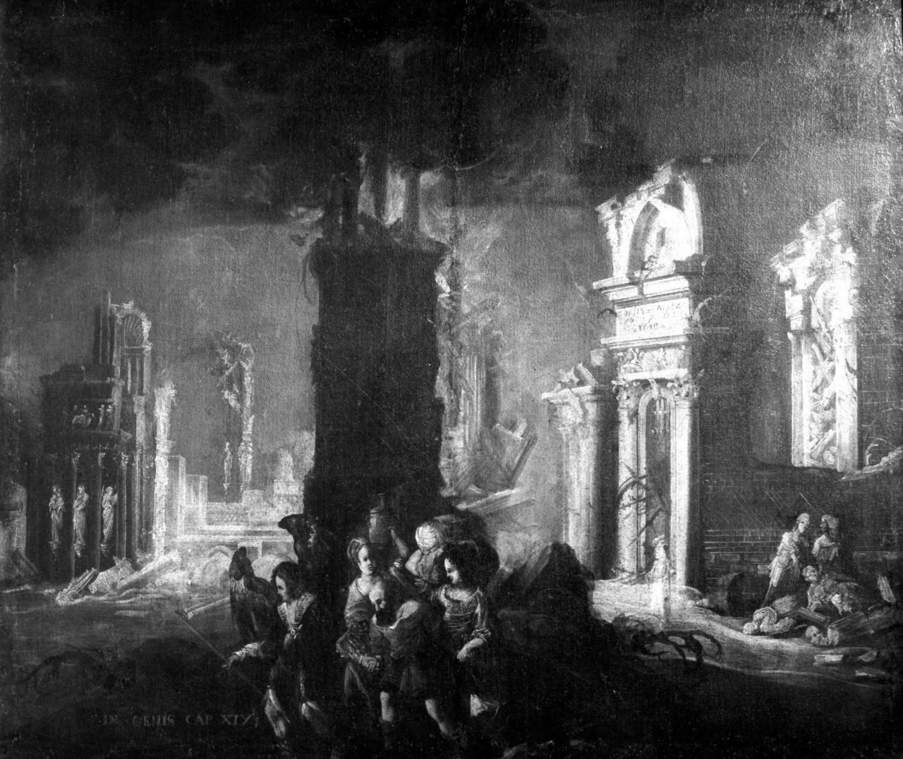 Loth fugge da Sodoma (dipinto) di De Nomé François Didier (attribuito) (sec. XVII)