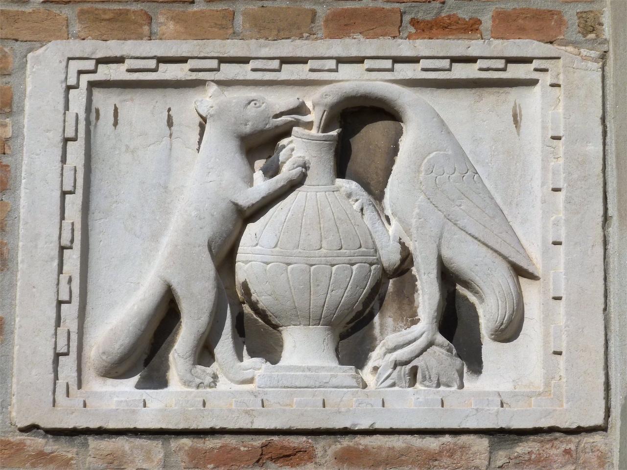 favola della volpe e della cicogna (rilievo, pendant) - ambito veneziano (secc. XIV-XV)