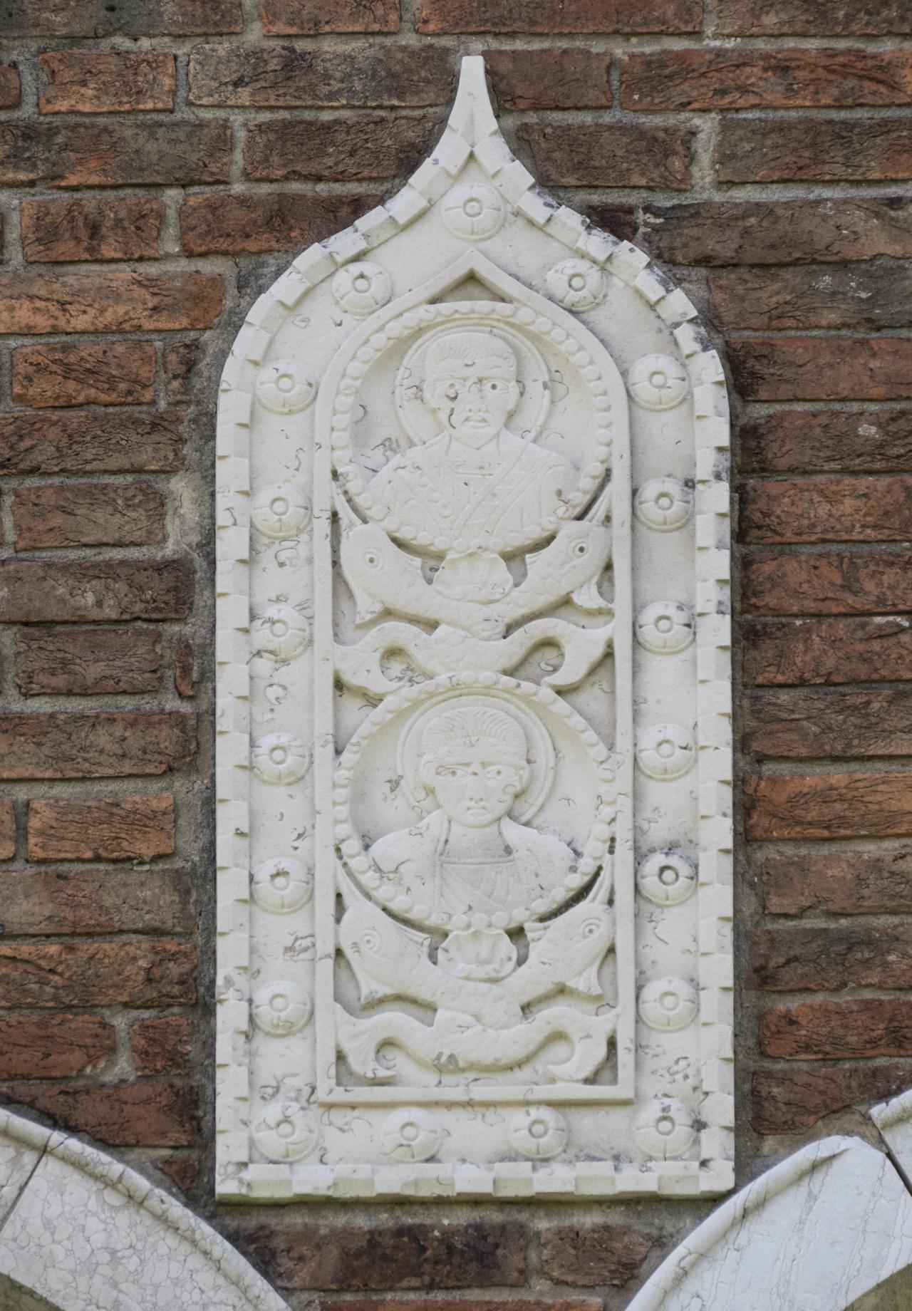 santi, delfini, motivi decorativi a rosetta e a dentelli (formella, serie) - ambito veneziano (sec. XX)