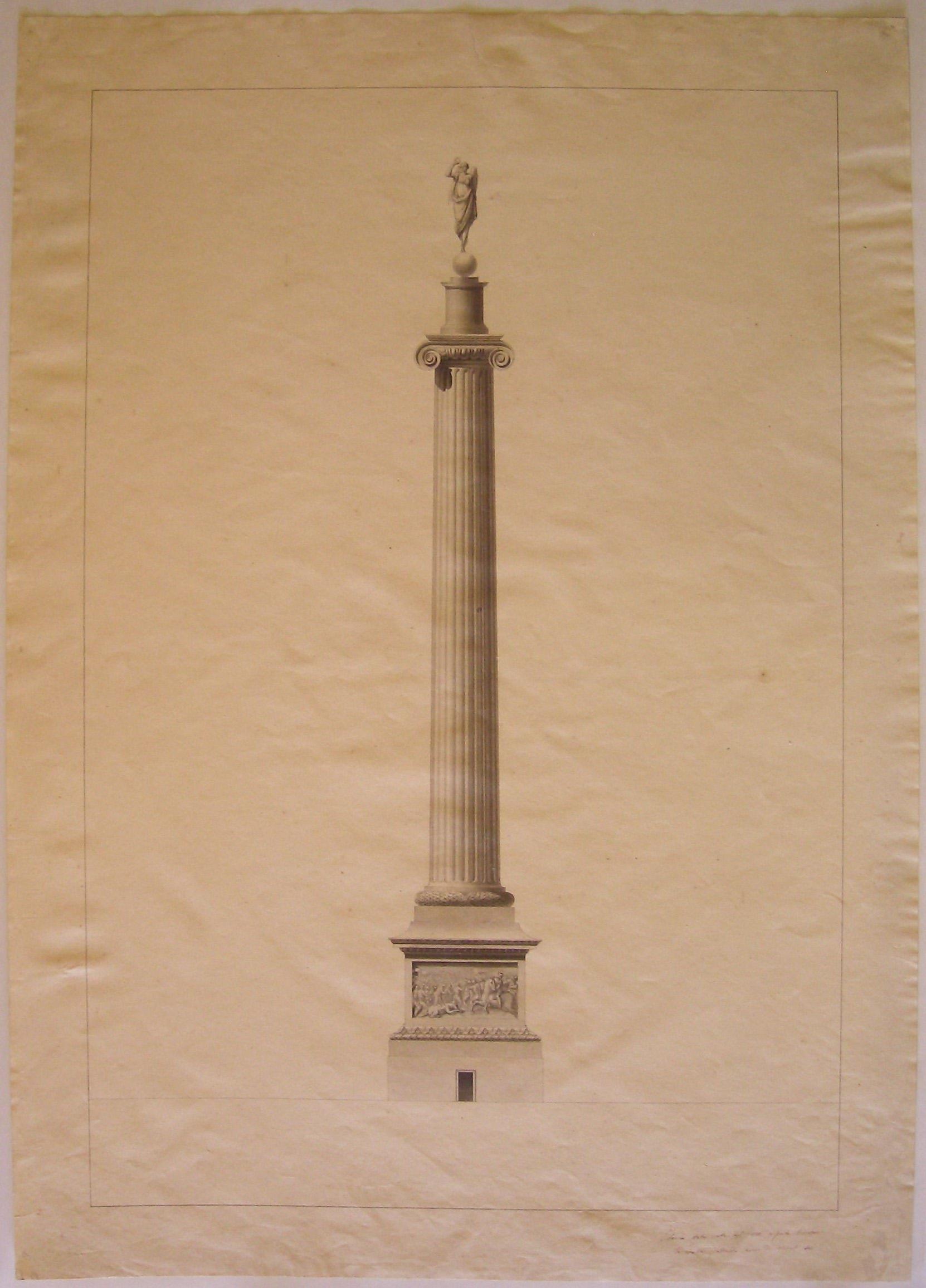 Colonna stata eretta nel 1810 a Porta Orientale - la colonna praticabile aveva (sic.) di diametro sei, progetto architettonico: colonna celebrativa ionica per la barriera di Porta Orientale a Milano (disegno architettonico) di Cagnola Luigi (sec. XIX)