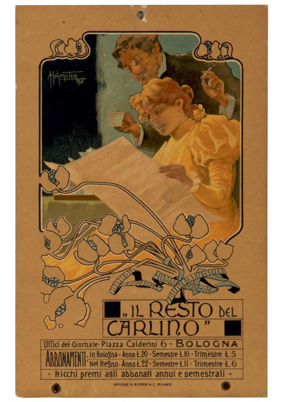 uomo e donna intenti a leggere il giornale inquadrati entro una cornice floreali (locandina) di Hohenstein Adolf (sec. XIX)