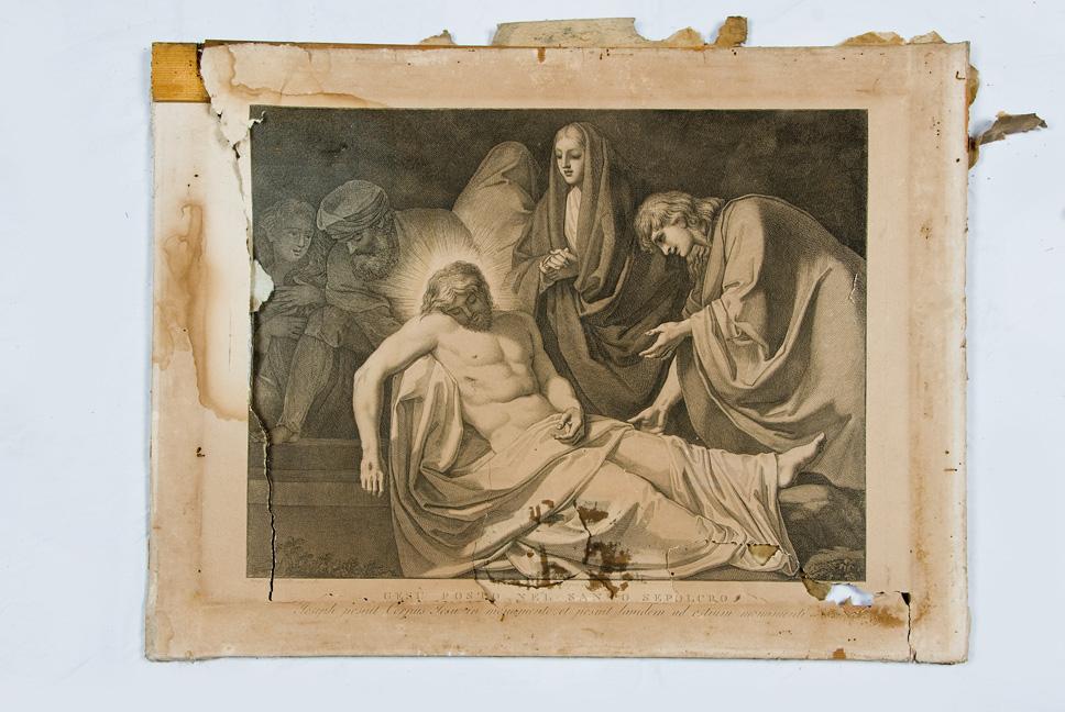 Stazione XIV: Gesù deposto nel sepolcro, Stazione della Via Crucis (stampa) di Sabatelli Luigi, Pera Giuseppe, Eredi Benedetto (prima meta' XIX)