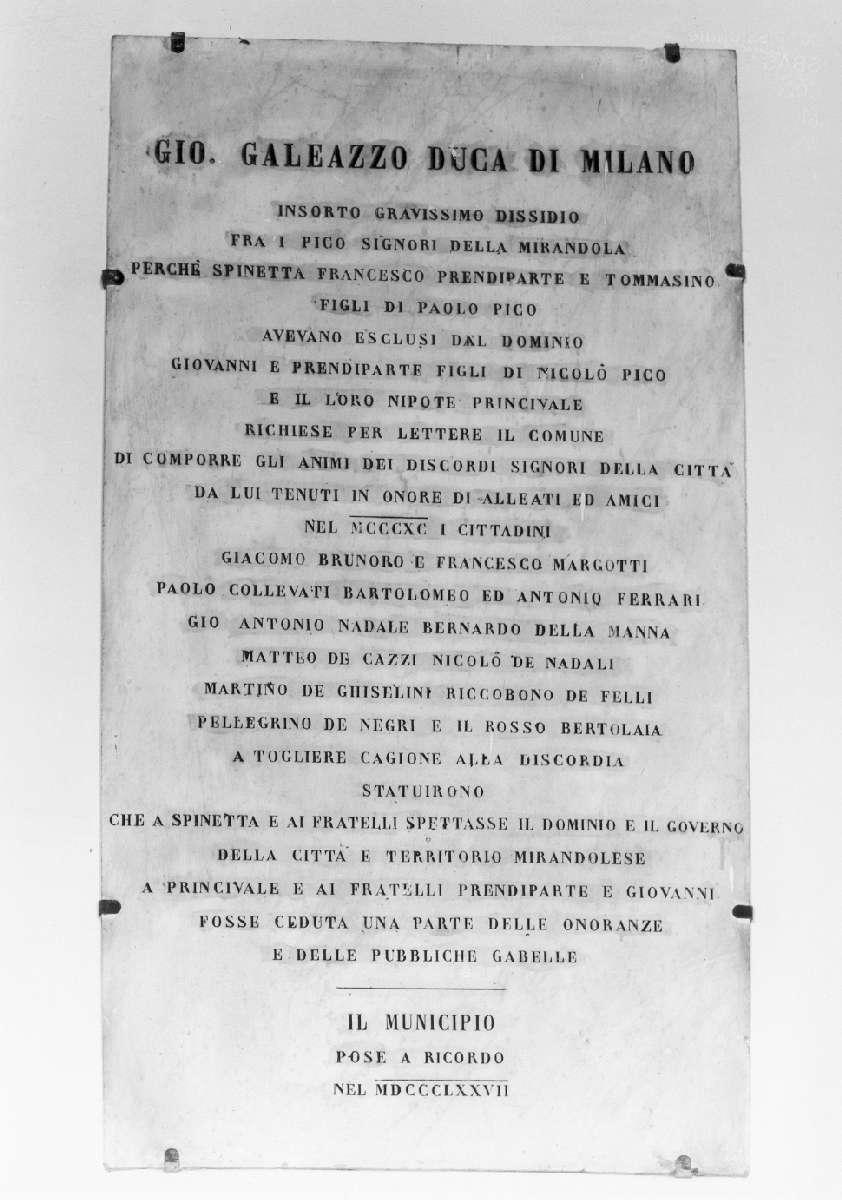 lapide celebrativa - manifattura emiliana (sec. XIX)