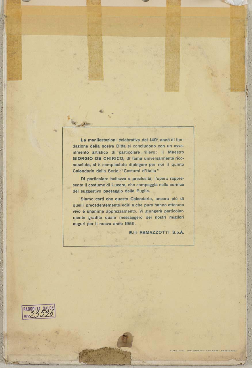 donna in abiti tradizionali lucerani fila la lana (calendario) di De Chirico Giorgio (sec. XX)