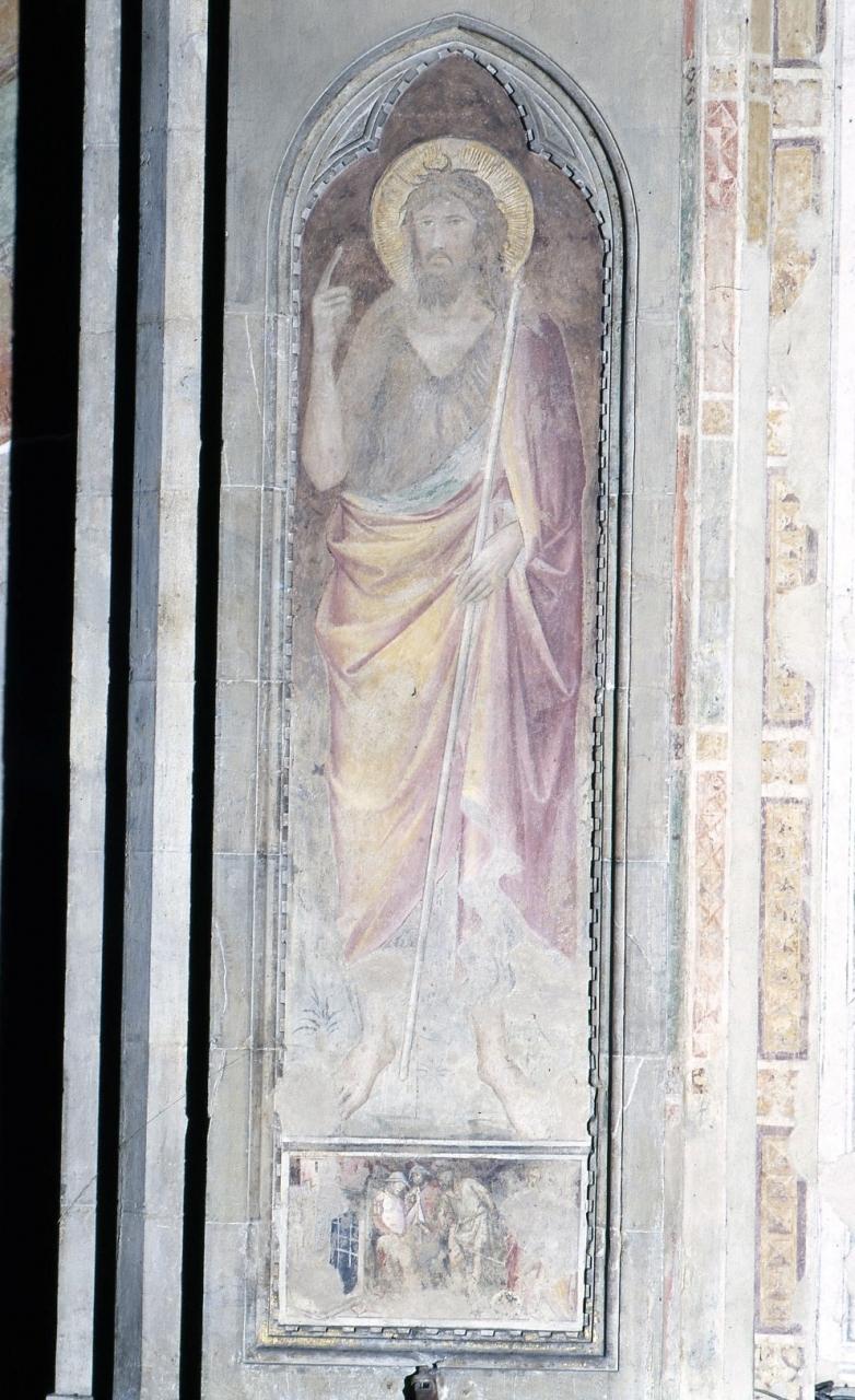 San Giovanni Battista/ decapitazione di San Giovanni Battista (dipinto murale staccato) di Gerini Niccolò di Pietro (attribuito) (inizio sec. XV)