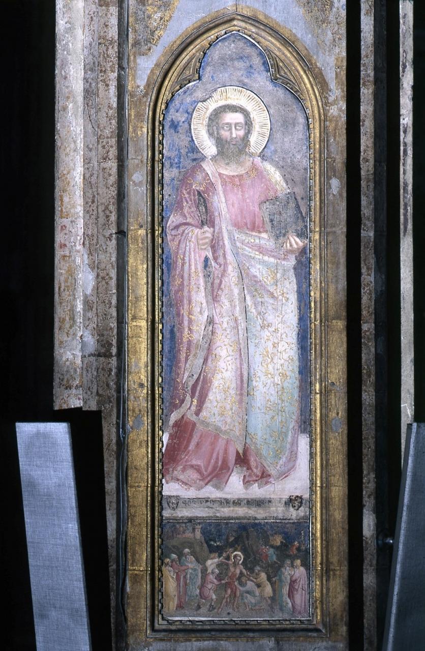martirio di San Bartolomeo/ San Bartolomeo (dipinto murale staccato) di Bonsi Giovanni detto Giovanni da Firenze (sec. XIV)