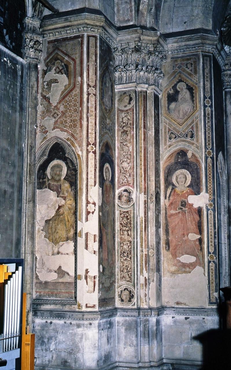 San Pietro Apostolo/ San Michele Arcangelo (dipinto murale staccato) di Gerini Niccolò di Pietro (inizio sec. XV)