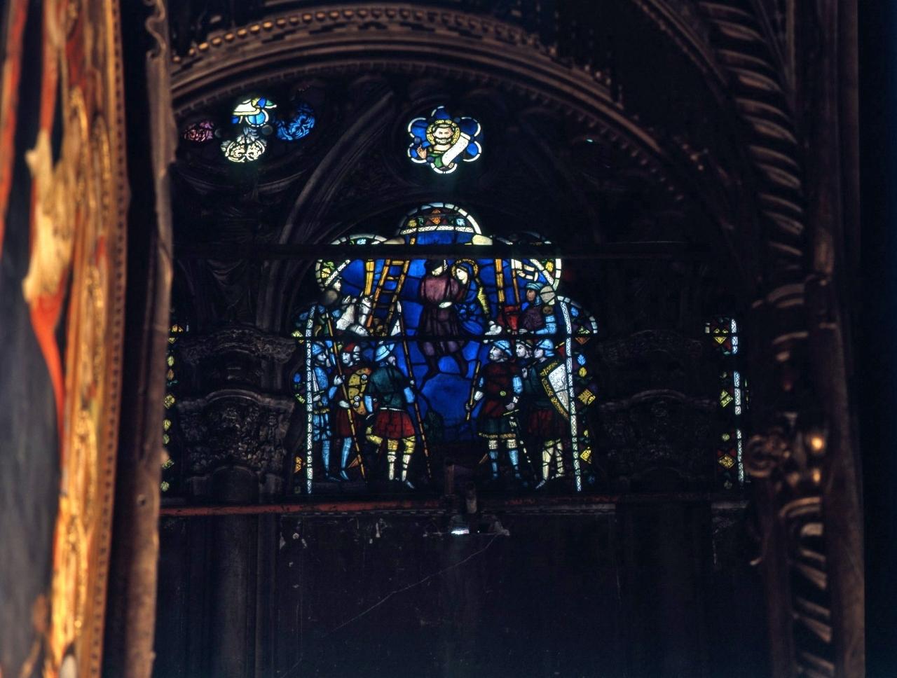 miracolo della Madonna (vetrata) di Ambrogio di Baldese (attribuito) - bottega fiorentina (fine/ inizio secc. XIV/ XV)