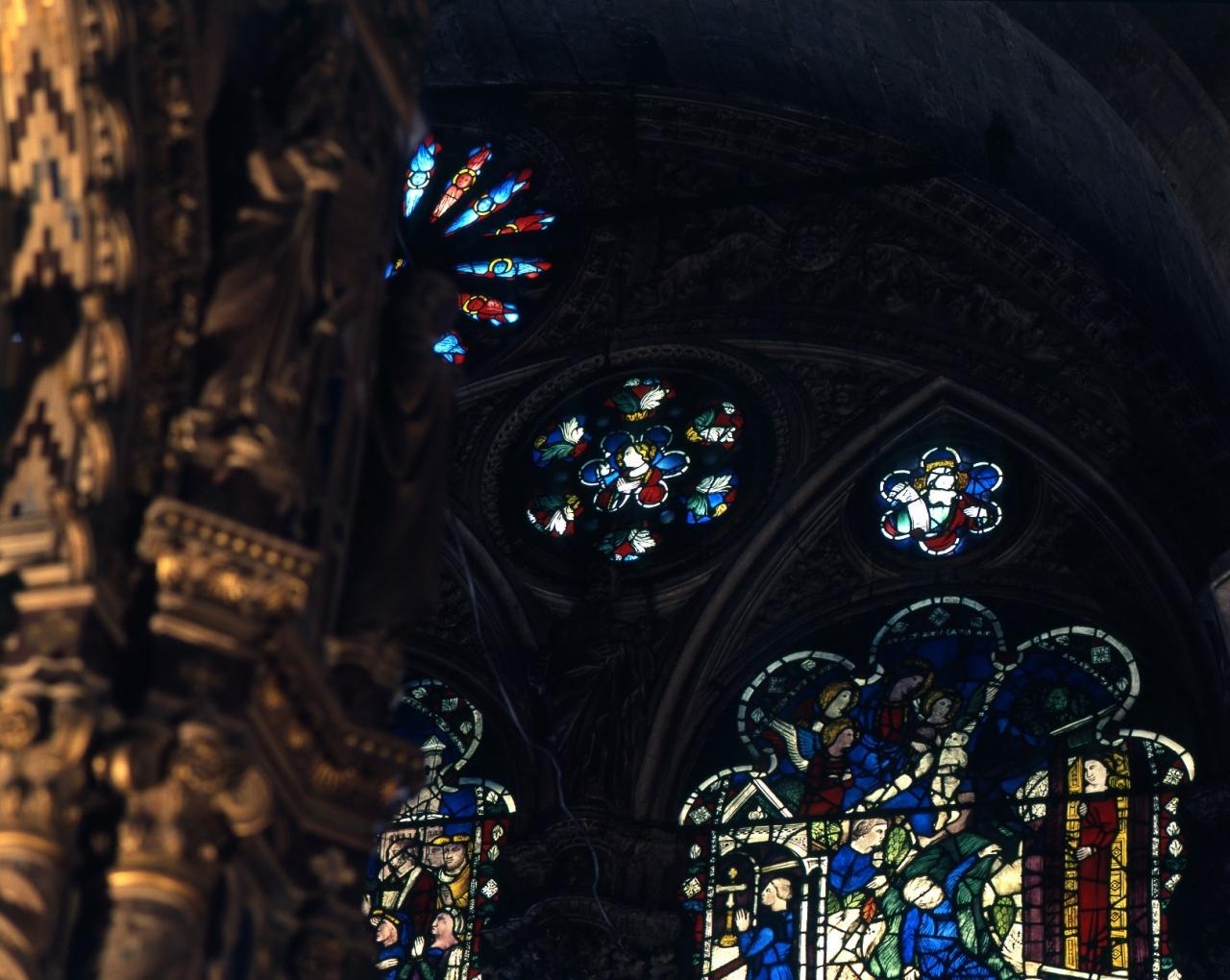 Madonna annunciata (vetrata) - bottega fiorentina (fine/ inizio secc. XIV/ XV)