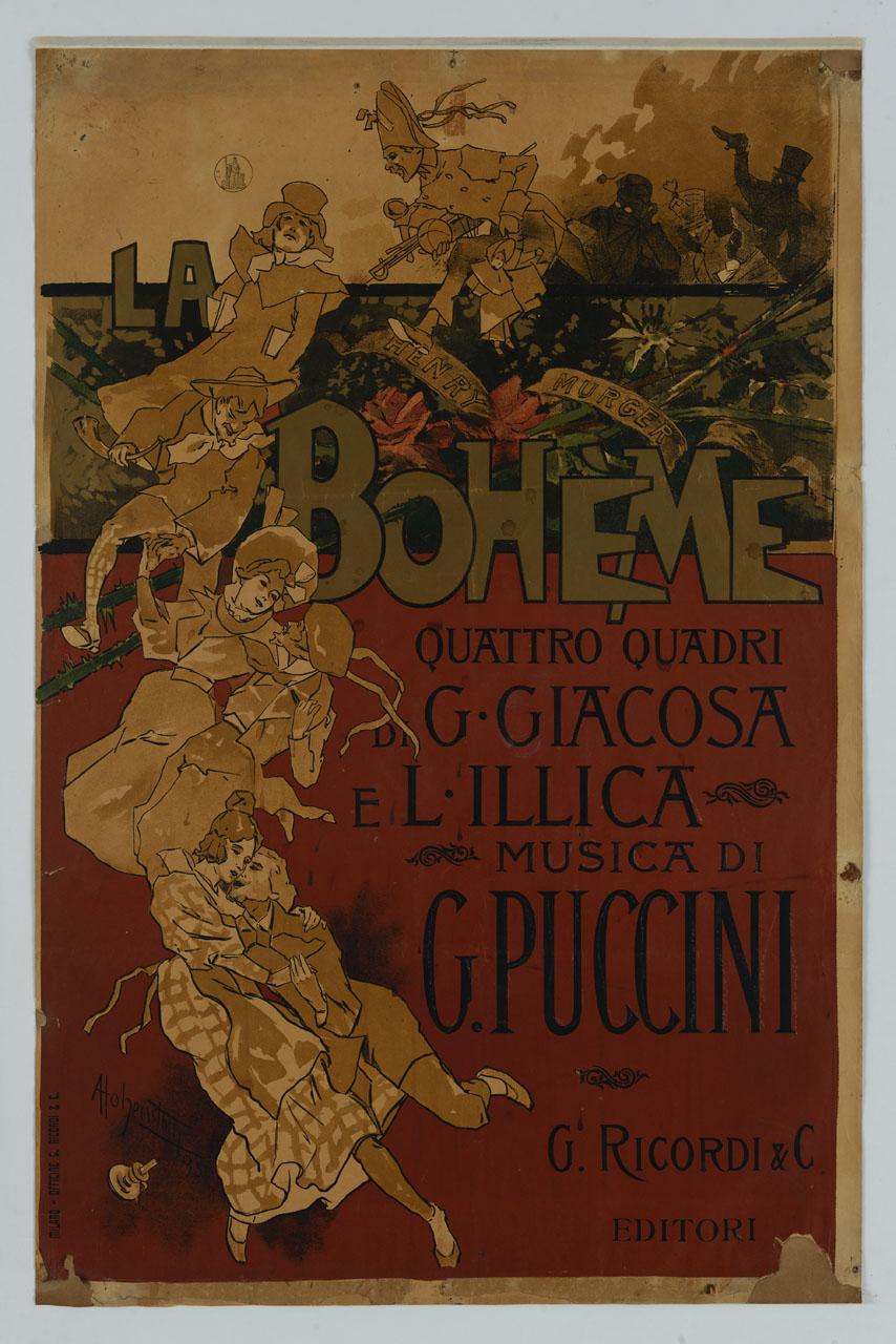 personaggi che si rincorrono in una danza davanti a uno spazio con fiori e cartiglio (manifesto) di Hohenstein Adolf (sec. XIX)