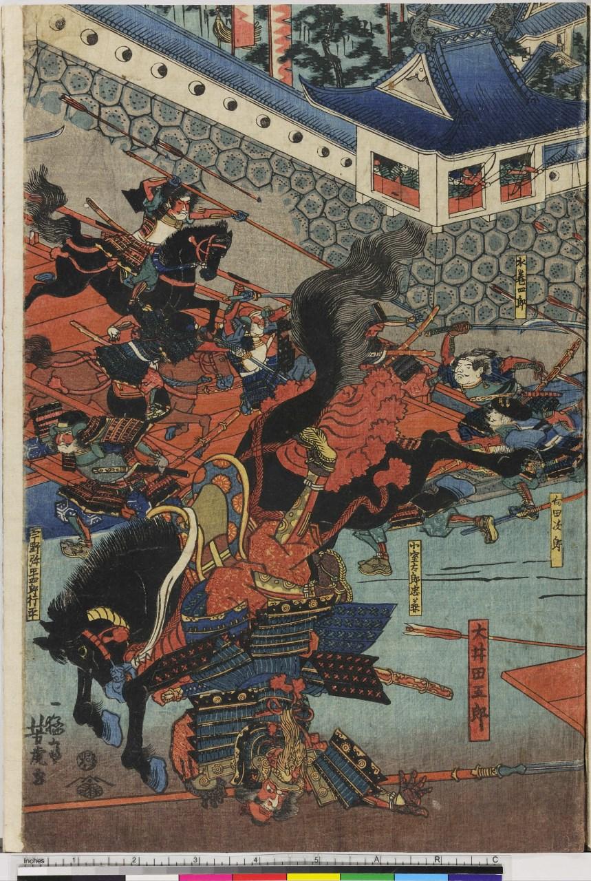 scena di guerra (stampa, elemento d'insieme) di Utagawa Yoshitora - ambito giapponese (sec. XIX)