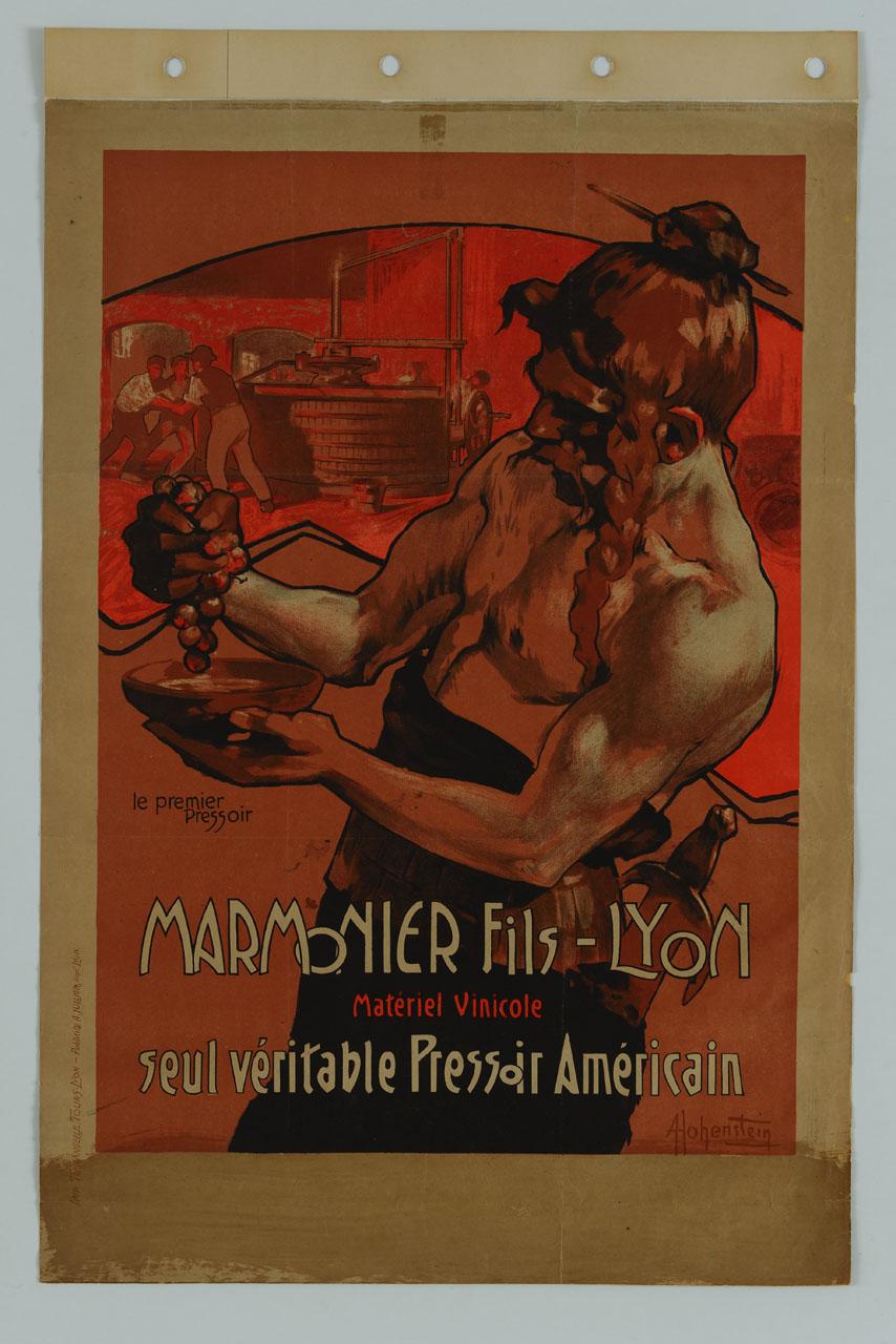 figura maschile a torso nudo schiaccia con la mano un grappolo d'uva (manifesto) di Hohenstein Adolf (inizio sec. XX)