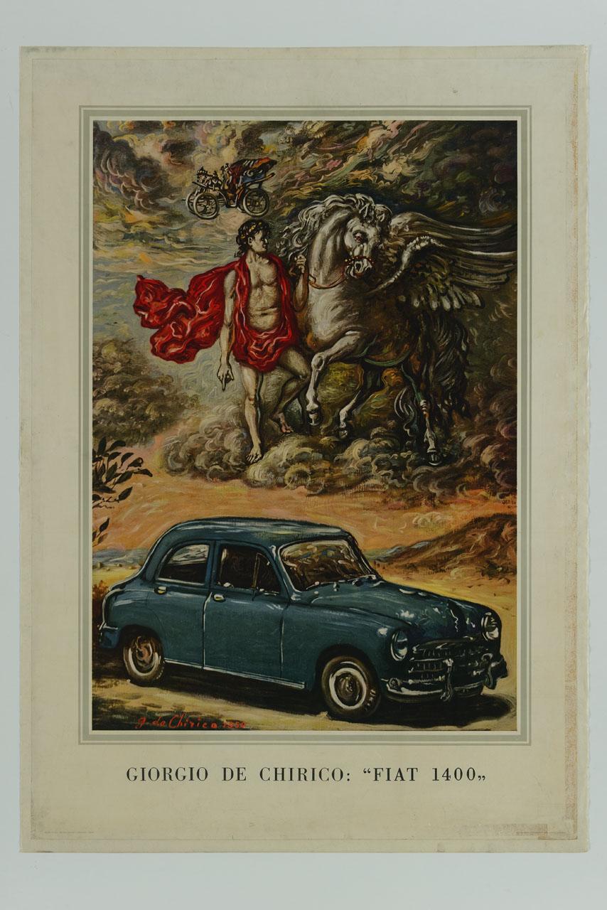 dipinto di Giorgio De Chirico raffigurante in primo piano una Fiat 1400, in alto Bellerofonte con il fido Pegaso e tra le nuvole un modello Fiat dell'inizio del secolo (manifesto) di De Chirico Giorgio (sec. XX)