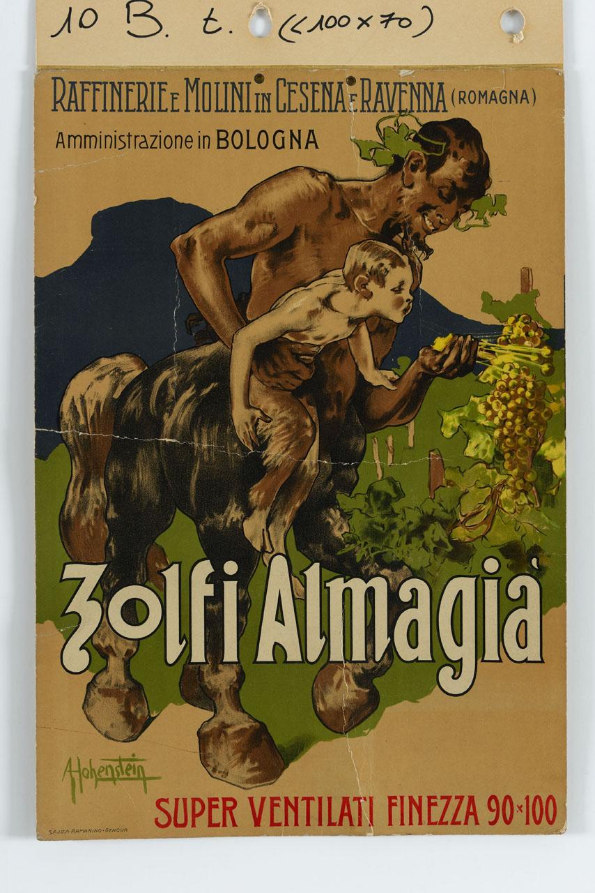 piccolo satiro sollevato da un centauro soffia lo zolfo sull'uva (manifesto) di Hohenstein Adolf (sec. XX)
