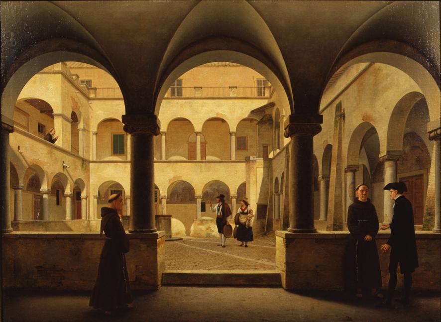 Il chiostro grande di Santa Maria in Ara Coeli, Veduta con architetture (dipinto, opera isolata) di Eckersberg Christoffer Wilhelm (XIX)