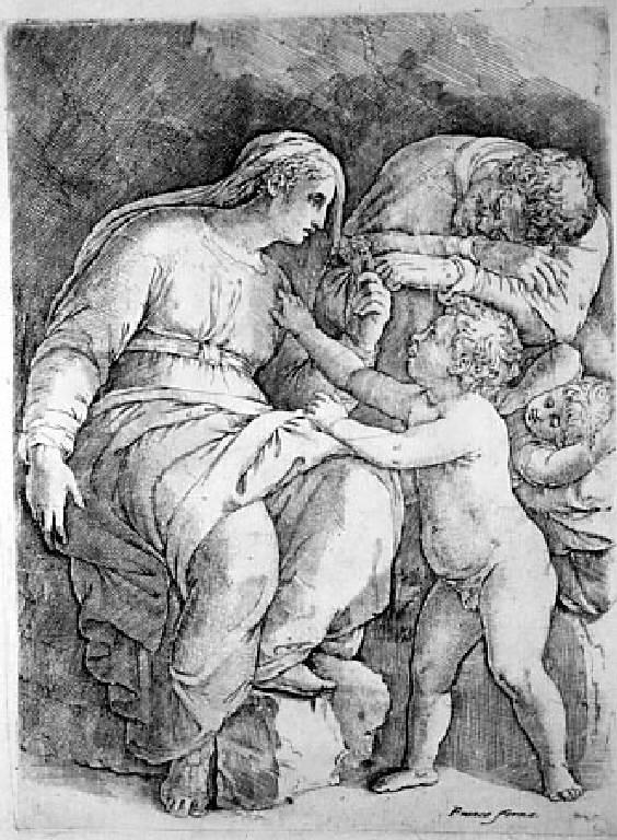 Sacra Famiglia con san Giovannino (stampa smarginata) di Franco Giovanni Battista (sec. XVI, metà)