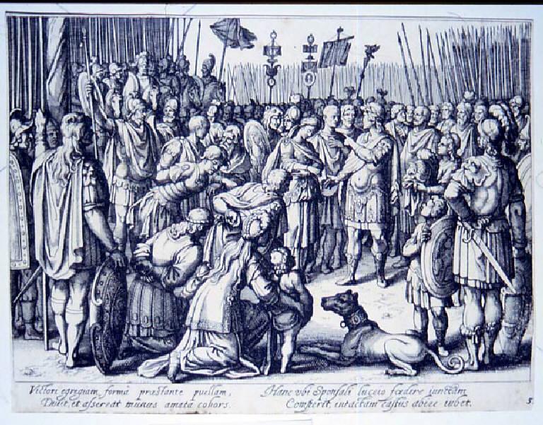 Scipione libera la moglie di Allucio, Scipione l'Africano libera la moglie di Allucio (stampa smarginata, elemento d'insieme) di Merian Matthaus il Vecchio, Tempesta Antonio (prima metà sec. XVII)
